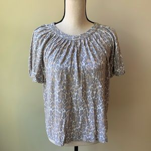 Maeve Anthro knit leopard short sleeved top sz M